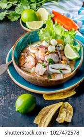 PERUVIAN CEVICHE SEBICHE. Peruvian seafood and fish sebiche with maize.