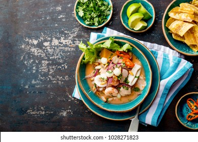 PERUVIAN CEVICHE SEBICHE. Peruvian seafood and fish sebiche with maize.
