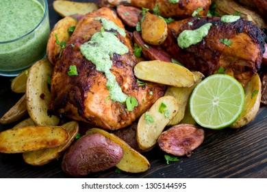Peruvian Chicken with Aji Verde (Green Sauce)