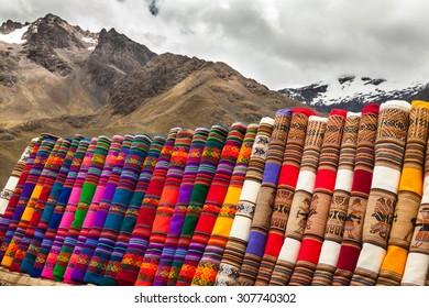 Peruvian colorful fabrics and cloths