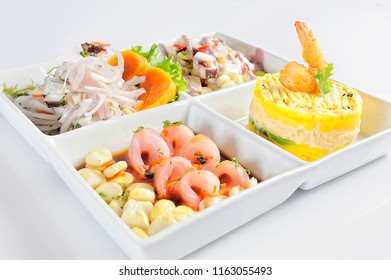 Peruvian cuisine, Cebiche, causa rellena and tiradito of fish