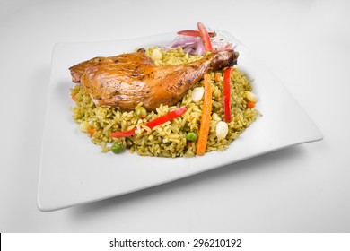 "Peruvian cuisine: Chicken and rice called ""arroz con pollo""."
