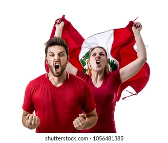 Peruvian fan celebrating