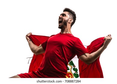 Peruvian Fan / Sport Player celebrating on white background