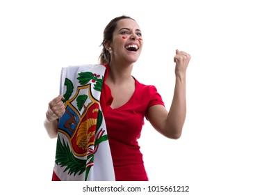 Peruvian female fan celebrating on white background