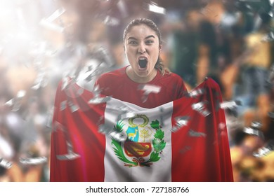 Peruvian female fan holding the national flag