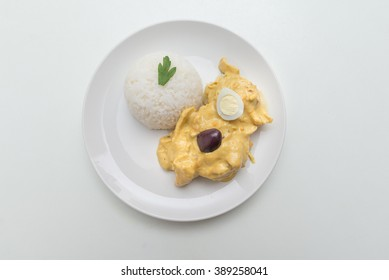 Peruvian food: Aji de Gallina, treditional recipe with chicken meat and pepper sauce.