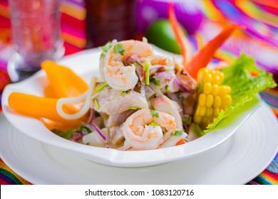 Peruvian food: Fish ceviche