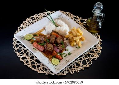 Peruvian food: Lomo Saltado, Salted beef in a dish