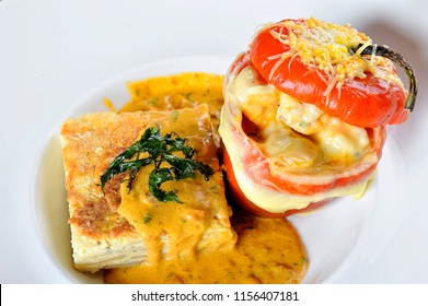 peruvian food: Rocoto relleno a filled pepper with meal and cheese.