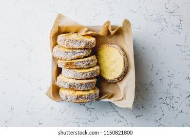 Peruvian food: Sweet Alfajor cookies portion served over napkin