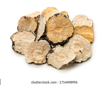 Peruvian ginseng or maca Lepidium meyenii, dried root and pow ,slice on a white background