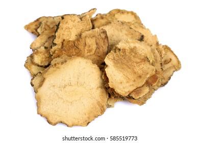 Peruvian ginseng or maca (Lepidium meyenii), dried root and pow  ?slice