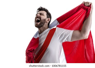 Peruvian male athlete / fan celebrating on white background