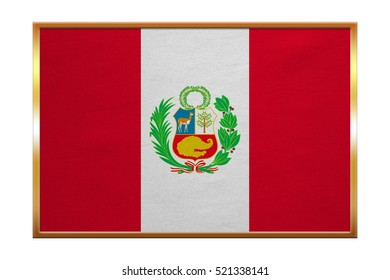 Peruvian national official flag. Patriotic symbol, banner, element, background. Correct colors. Flag of Peru , golden frame, fabric texture, illustration. Accurate size, color