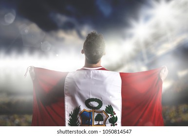Peruvian soccer player celebrating in the stadium