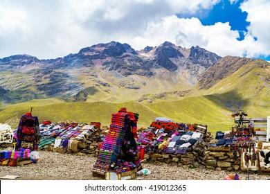 Peruvian souvenir for sale at the  roadside near Cusco in Peru