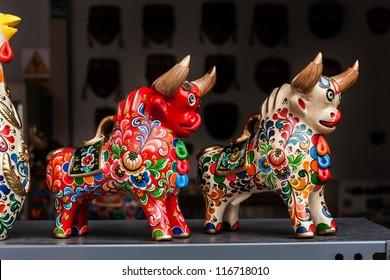 Peruvian traditional handcraft: Torito de Pucara,  colorfull ceramic bulls
