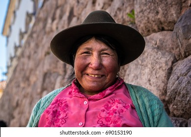 Peruvian traditional woman (Quechua lady) in the street
