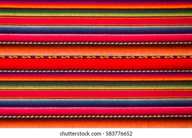 Peruvian traditional woven wool fabric background, Latin America