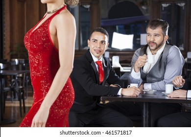Pervert Customers Looking At Tango Dancer In Cafe