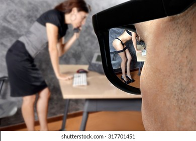 pervert office boss harass a sexy woman and imagine her naked in stockings