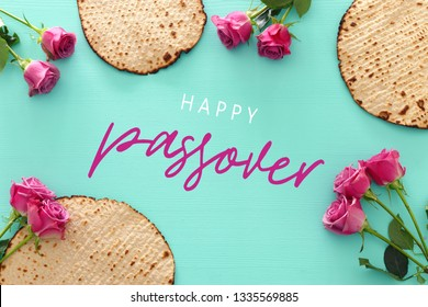 Pesah celebration concept (jewish Passover holiday). Top view, Flat lay