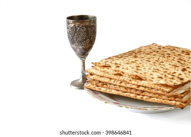 Pesah celebration concept (jewish Passover holiday). selective focus. isolated on white
