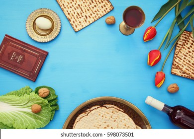 Pesah celebration concept (jewish Passover holiday). Traditional book with text in hebrew: Passover Haggadah (Passover Tale)