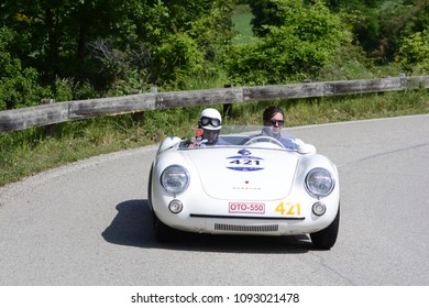PESARO COLLE SAN BARTOLO , ITALY - MAY 17 - 2018 : PORSCHE 550 SPYDER 1500 RS 1955  on an old racing car in rally Mille Miglia 2018 the famous italian historical race (1927-1957)