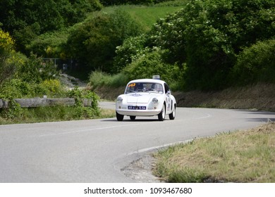 PESARO COLLE SAN BARTOLO , ITALY - MAY 17 - 2018 : ALPINE A 106 MILLE MIGLIA	1957 on an old racing car in rally Mille Miglia 2018 the famous italian historical race (1927-1957) o