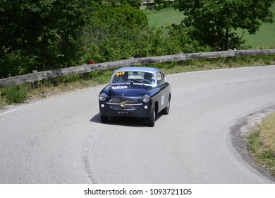 PESARO COLLE SAN BARTOLO , ITALY - MAY 17 - 2018 :  S.I.A.T.A. FIAT 1100/103 GT	1956 on an old racing car in rally Mille Miglia 2018 the famous italian historical race (1927-1957)