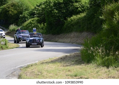 PESARO COLLE SAN BARTOLO , ITALY - MAY 17 - 2018 : ASTON MARTIN DB 2 VANTAGE	1952 on an old racing car in rally Mille Miglia 2018 the famous italian historical race (1927-1957)