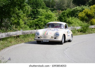 PESARO COLLE SAN BARTOLO , ITALY - MAY 17 - 2018 : PORSCHE 356 A 1500 GS CARRERA	1956 on an old racing car in rally Mille Miglia 2018 the famous italian historical race (1927-1957)