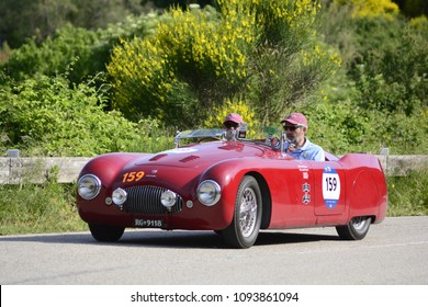 PESARO COLLE SAN BARTOLO , ITALY - MAY 17 - 2018 : CISITALIA 202 S MM SPIDER 1948 on an old racing car in rally Mille Miglia 2018 the famous italian historical race (1927-1957)