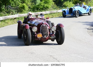 PESARO COLLE SAN BARTOLO , ITALY - MAY 17 - 2018 : ALFA ROMEO 8C 2900 BOTTICELLA	1936 on an old racing car in rally Mille Miglia 2018 the famous italian historical race (1927-1957)