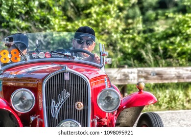 PESARO COLLE SAN BARTOLO , ITALY - MAY 17 - 2018 : FIAT 508 S BALILLA SPORT COPPA O	1934 old racing car in rally Mille Miglia 2018 the famous italian historical race (1927-1957)
