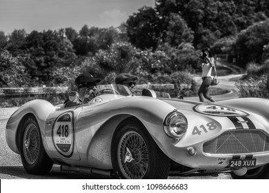 PESARO COLLE SAN BARTOLO , ITALY - MAY 17 - 2018 : ASTON MARTIN DB 3S	1955  old racing car in rally Mille Miglia 2018 the famous italian historical race (1927-1957)