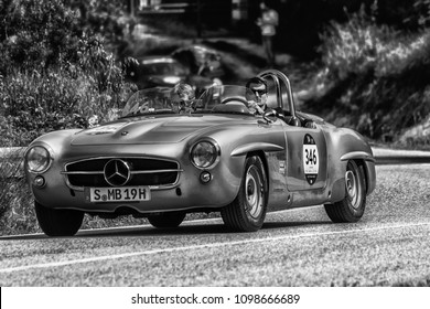 PESARO COLLE SAN BARTOLO , ITALY - MAY 17 - 2018 : MERCEDES 190 SL	1955 old racing car in rally Mille Miglia 2018 the famous italian historical race (1927-1957)