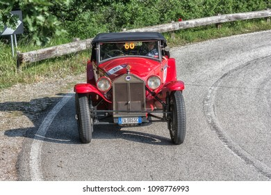 PESARO COLLE SAN BARTOLO , ITALY - MAY 17 - 2018 : LANCIA LAMBDA VIII SERIE CASARO	1929 old racing car in rally Mille Miglia 2018 the famous italian historical race (1927-1957)