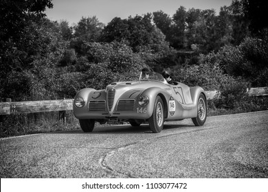 PESARO COLLE SAN BARTOLO , ITALY - MAY 17 - 2018 : ALFA ROMEO 6C 2500 SS SPIDER COLLI1947 old racing car in rally Mille Miglia 2018 the famous italian historical race (1927-1957)