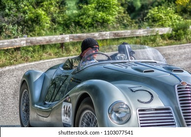 PESARO COLLE SAN BARTOLO , ITALY - MAY 17 - 2018 : ALFA ROMEO 6C 2500 SS SPIDER COLLI	1947 old racing car in rally Mille Miglia 2018 the famous italian historical race (1927-1957)