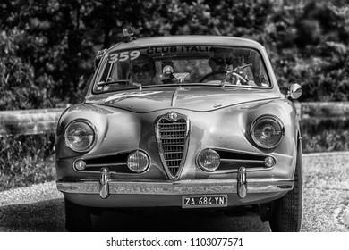PESARO COLLE SAN BARTOLO , ITALY - MAY 17 - 2018 : ALFA ROMEO 1900 C SS TOURING	1955  old racing car in rally Mille Miglia 2018 the famous italian historical race (1927-1957)