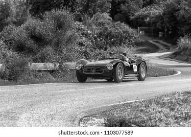 PESARO COLLE SAN BARTOLO , ITALY - MAY 17 - 2018 : MASERATI A6GCS/53 FANTUZZI	1954 old racing car in rally Mille Miglia 2018 the famous italian historical race (1927-1957)