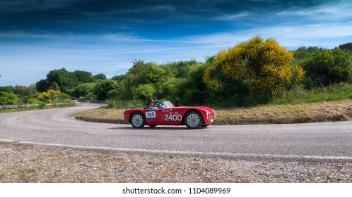 PESARO COLLE SAN BARTOLO , ITALY - MAY 17 - 2018 : PARISOTTO PASQUALIN 750 SPORT	1952  old racing car in rally Mille Miglia 2018 the famous italian historical race (1927-1957)
