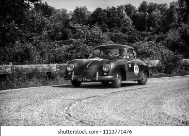PESARO COLLE SAN BARTOLO , ITALY - MAY 17 - 2018 : PORSCHE 356 1500	1955  old racing car in rally Mille Miglia 2018 the famous italian historical race (1927-1957)