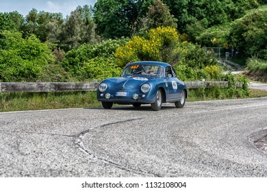 PESARO COLLE SAN BARTOLO , ITALY - MAY 17 - 2018 : PORSCHE 356 A 1600	1957 on an old racing car in rally Mille Miglia 2018 the famous italian historical race (1927-1957)