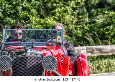 PESARO COLLE SAN BARTOLO , ITALY - MAY 17 - 2018 : ASTON MARTIN LE MANS	1933 on an old racing car in rally Mille Miglia 2018 the famous italian historical race (1927-1957)