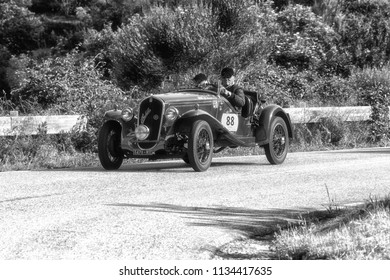 PESARO COLLE SAN BARTOLO , ITALY - MAY 17 - 2018 : FIAT 508 S BALILLA SPORT COPPA O	1934 on an old racing car in rally Mille Miglia 2018 the famous italian historical race (1927-1957)