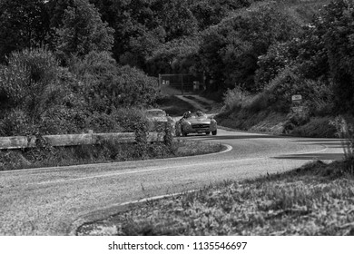 PESARO COLLE SAN BARTOLO , ITALY - MAY 17 - 2018 : MERCEDES 190 SL	1956 on an old racing car in rally Mille Miglia 2018 the famous italian historical race (1927-1957)